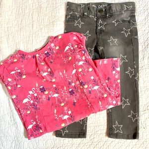 2T cat & jack star jeans and flamingo top